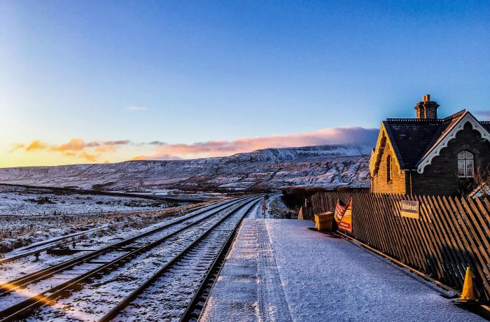 Ribblehead Station in the winter sun along the Settle to Carlisle line